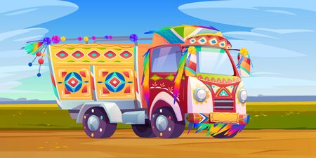 Jingle truck, Indian or Pakistan colorful ornate transport with motley elements riding by road on nature background, oriental cultural traditional holidays lorry. Cartoon vector illustration, clip art
