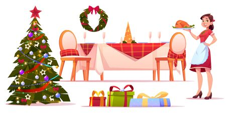 Christmas dinner set, happy woman hold tray with turkey, served table with festive tableware, decorated fir tree and heap of wrapped gifts, holiday celebration. Cartoon vector illustration, clip art Illustration