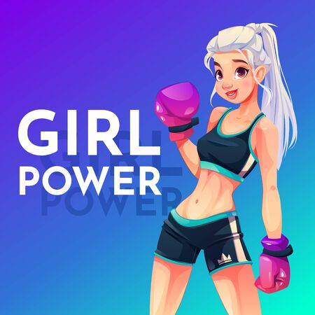 Woman in boxing gloves posing in sportswear with crown print on shorts. Girl power concept, sportswoman with athletics muscular body and long blonde hair fitness trainer. Cartoon vector illustration
