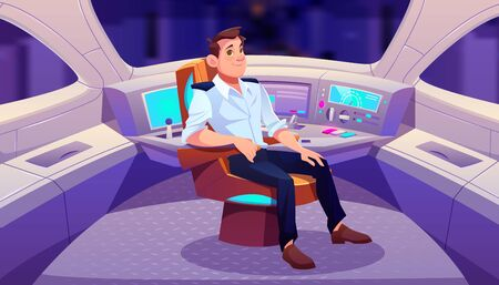 Train driver in cockpit, railroad engineer sitting in turning armchair near control panel in railway car cabin with electronic dashboard, buttons and panoramic windows. Cartoon vector illustration Stock fotó - 134172673