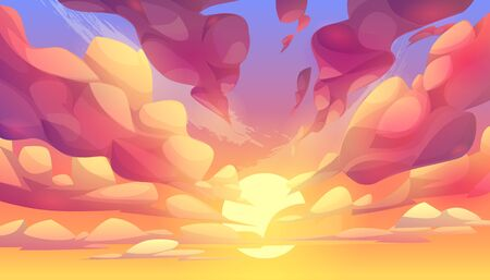 Sunset or sunrise sky, nature landscape background, pink clouds flying in sky to shining sun. Evening or morning view Cartoon vector illustration Illusztráció