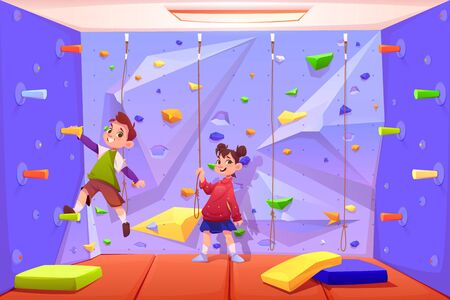 Kids climbing wall, boy and girl playing in recreation area for children or playing room with ropes for rock scaling activity in amusement park or playground. Game leisure. Cartoon vector illustration