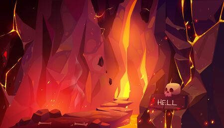 Road to hell, infernal hot cave with lava and burning fire, path paved with rocks and randomly lying bones going to blazing entrance in wall and scull with signboard. Cartoon vector illustration