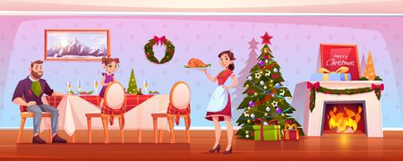 Family Christmas dinner, happy people celebrating holiday, father and daughter sitting at table mother carry tray with turkey in room with decorated fir tree and fireplace. Cartoon vector illustration Stock fotó - 134172681