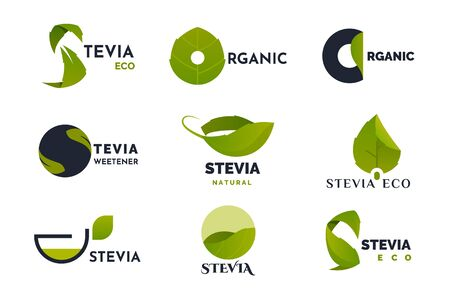 Stevia leaves icons set for natural herbal sweetener isolated on white background. Dietary product tags for package design. Healthy sugar with zero calories, organic food stickers. Vector illustration