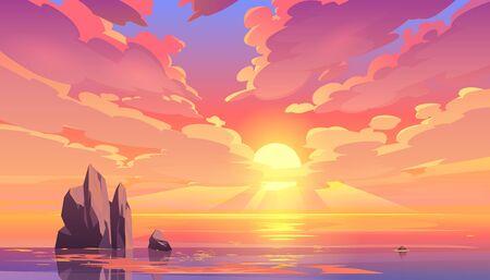 Coucher de soleil ou lever de soleil dans l'océan, fond de paysage naturel, nuages roses volant dans le ciel au soleil brillant au-dessus de la mer avec des rochers qui dépassent de la surface de l'eau. Vue du soir ou du matin Illustration vectorielle de dessin animé