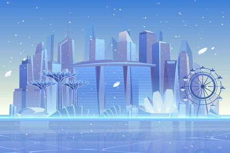 Winter city skyline at frozen waterfront bay. Futuristic metropolis architecture and ferris wheel view under fallen snow. Luxury skyscrapers buildings cityscape background. Cartoon vector illustration