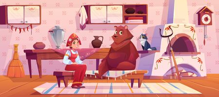 Frau im traditionellen, alten russischen Kostüm, Sommerkleid und Kokoshnik, Bär und Katze, die auf Küche mit Herd, Kuckucksuhr, Samowar, Griff und Lappen auf dem Boden sitzen. Ländliche Zimmereinrichtung. Cartoon-Vektor-Illustration