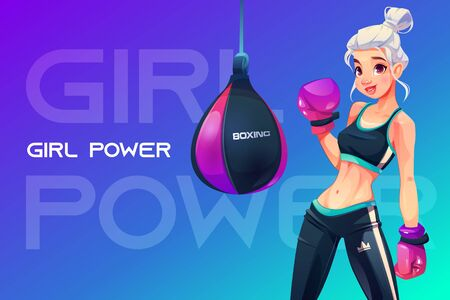 Woman in boxing gloves posing at punching bag in sportswear with crown print on sportive trousers. Girl power concept, blonde sportswoman with athletics muscular body. Cartoon vector illustration Stock fotó - 134172689
