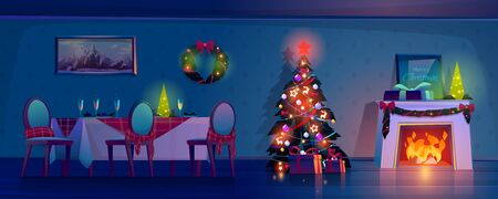 Room at Christmas night, empty home interior with burning fireplace, decorated fir tree with gifts and presents and table with food and champagne in glasses. Xmas eve Cartoon vector illustration Stock fotó - 134172687