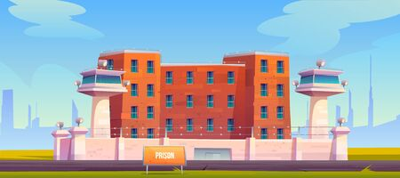 Prison building, jail fenced with strained barbed wire on high wall, searchlights on watchtowers, criminal institution facade exterior red brick wall with windows and gate cartoon vector illustration