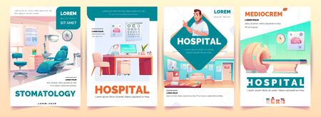 Hospital banners set. Stomatology and therapeutic office, magnetic resonance imaging service and mediocrem background for clinic advertising, health care poster design. Cartoon vector illustration