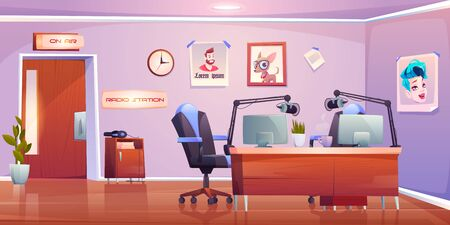 Radio station studio interior, empty room with table, microphones pc on air signboard and professional equipment for music programs and podcast broadcasting, media industry Cartoon vector illustration Illusztráció