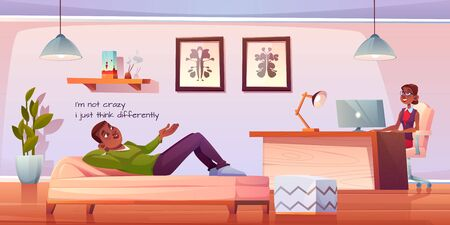 Patient in psychologist, psychotherapist office. Man lying on couch talking to woman practitioner sitting at table in cabinet. Psychiatrist session in mental health clinic. Cartoon vector illustration Stock fotó - 134172702