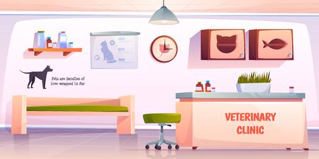 Vet clinic reception. Veterinary hall interior with administrator desk and furniture. Animals hospital lobby with cat and dog aid banners on wall, pets medicine treatment. Cartoon vector illustration Stock fotó - 134172709