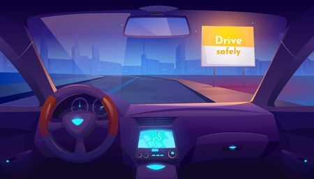 Car interior inside with gps on dashboard and view through windshield on night road and cityscape skyline, drive safely banner on roadside. Empty vehicle salon design. Cartoon vector illustration