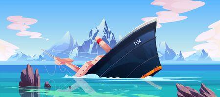 Accidente de naufragio, barco encallado hundiéndose en el océano, barco bajo la superficie del agua en el fondo marino con rocas, montañas y cielo nublado, accidente de transporte marino. Ilustración vectorial de dibujos animados
