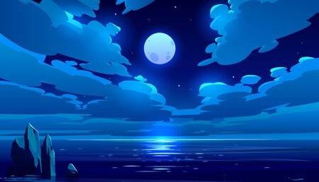 Full moon night ocean or sea landscape. Starry sky with clouds and moonlight reflection in dark water surface, romantic fantasy natural scene background, midnight time. Cartoon vector illustration Stock fotó - 134172713