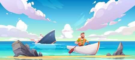 Man escaping from sinking ship after shipwreck accident, vessel run aground in ocean, going under water surface, character in life vest rowing in boat to beach with rocks. Cartoon vector illustration Stock fotó - 134172710