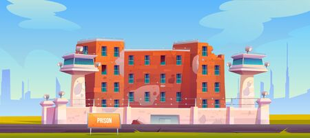 Abandoned prison building, jail fenced with strained barbed wire, searchlights on watchtowers, neglected criminal institution facade with broken windows and flaky walls. cartoon vector illustration