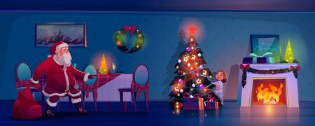 Santa Claus sneaking toward Christmas tree to place gifts, little child peeking out of spruce for father noel bringing presents in big sack at decorated room with fireplace Cartoon vector illustration