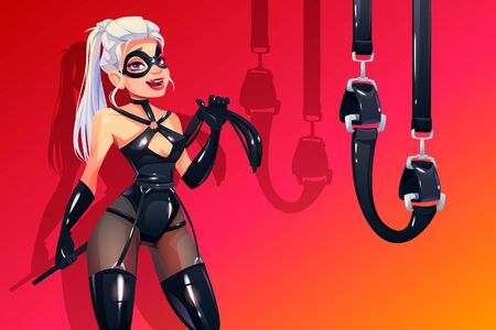 Dominatrix woman in bdsm latex costume with fetish accessories whip and bounding belts. Dominant blonde sexy vamp mistress girl in leather corset, gloves collar and mask. Cartoon vector illustration