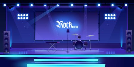 Stage with rock music instruments, equipment and illumination, empty scene interior with drums, synthesizer, microphone, dynamics searchlights and screen for presentation. Cartoon vector illustration Stock fotó - 134172721