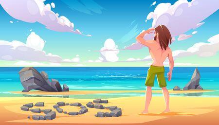 Hombre náufrago en una isla deshabitada, solitario personaje de pelo largo varado de pie en la playa mirando a lo lejos en el océano con signo sos hecho de piedras en la playa de arena Ilustración vectorial de dibujos animados