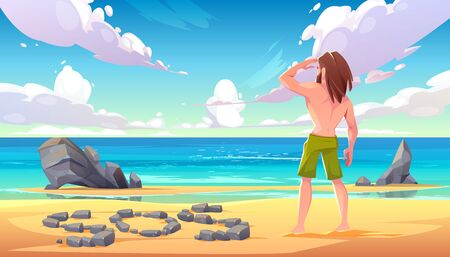 Castaway man on uninhabited island, lonely stranded longhaired character stand on seaside looking into distance on ocean with sos sign made of stones lying on sandy beach. Cartoon vector illustration