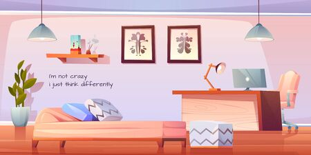 Psychologist, psychotherapist office with stuff and furniture, practitioner cabinet with pc on table, armchair, couch with pillows, rorschach test on wall, lamp and plant. Cartoon vector illustration Stock fotó - 134172737