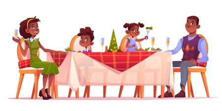 Christmas dinner, happy family sitting at festive served decorated table with food, afro-american dark skin mother father and kids celebrate winter holidays. Cartoon vector illustration, clip art Illustration