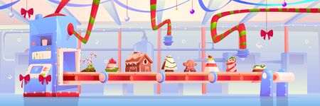 Conveyor with Christmas candy and sweets, gingerbread house, pudding, traditional xmas bakery, desserts, pastry and cakes moving on factory belt decorated with red bows. Cartoon vector illustration Stock fotó - 134172736