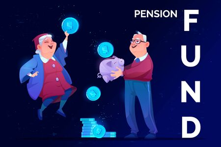 Pension fund savings. Elderly man with money piggy bank and old woman holding huge coin in hand rejoice to get superannuation. Senior grandparents retirement future safety Cartoon vector illustration Stock fotó - 134172743