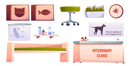 Veterinary vet clinic furniture and stuff set isolated on white background. Reception desk, couch, shelf for medicine, chair, clock. Animals hospital banners, pets medicine Cartoon vector illustration Stock fotó - 134172761