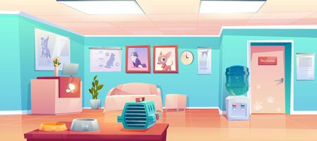 Veterinary clinic reception, empty hall interior with desk, veterinarian doctor cabinet door. Animals hospital lobby with cat and dog banners, pet carrier, food bowls. Cartoon vector illustration Stock fotó - 134172750