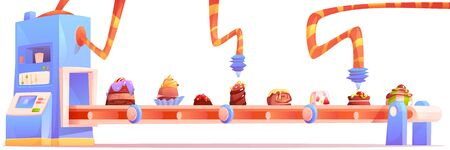 Candy factory, chocolate production line isolated on white background. Sweet desserts and cakes moving on conveyor belt, food cooking and decorating manufacturing process. Cartoon vector illustration Stock fotó - 134172751