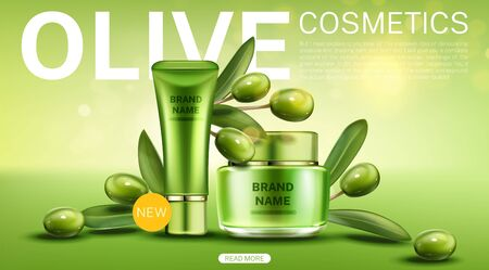Olive cosmetics tube and cream jar landing page, natural new beauty eco product line on green background with berries and leaves, cosmetic bottles mock up. Realistic 3d vector illustration, web banner