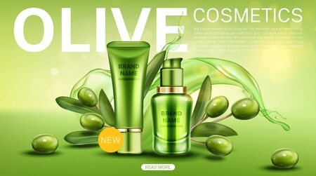 Olive cosmetics landing page, new natural beauty product bottles line on green background with berries, leaves and water splash moisturize cosmetic tubes mockup banner Realistic 3d vector illustration