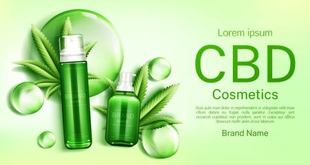 Cbd cosmetics bottles with cannabis leaves and bubbles web banner mockup, glass tubes with hemp cannabinoid extract. Legal marijuanna weed thc cosmetic product promo. Realistic 3d vector illustration Illustration