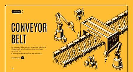 Factory conveyor belt isometric landing page. Robotic arms packing milk bottles production on transporter line. Automation, smart industrial robot assistants. 3d vector illustration, line art, banner.