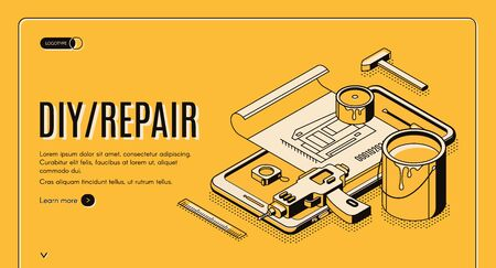 Diy repair isometric landing page, engineering construction service tools for house renovation on huge mobile phone screen. Architect building company service, 3d vector web banner template, line art Illustration