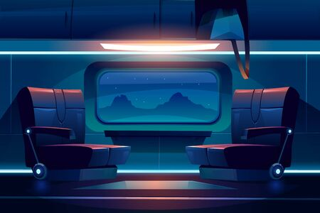 Train night inside interior, empty railway car with comfortable seats near large window with beautiful mountain landscape view and luggage storage above. Commuter transport Cartoon vector illustration