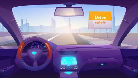 Car interior inside with gps on dashboard and day time view through windshield on road and cityscape skyline, drive safely banner on roadside. Empty vehicle salon design. Cartoon vector illustration
