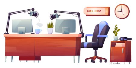 Radio station studio interior stuff set. Table with microphones, pc, on air signboard and professional equipment for music programs and podcast broadcasting, media industry Cartoon vector illustration