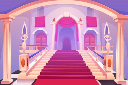 Castle staircase, upward stairs in palace entrance with statues, red rag and wooden doors, medieval architecture design, empty fantasy or historical building hall interior. Cartoon vector illustration