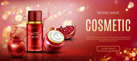 Pomegranate cosmetics bottle and cream jar mock up banner, tubes with ripe garnet and water splashes, beauty skin care cosmetics product package design. Realistic 3d vector illustration, ad banner