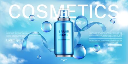 Cosmetics bottle, beauty product landing page banner mock up, spray tube on blue cloudy sky background with bow and bubbles. Moisturize cosmetic advertising template. Realistic 3d vector illustration Illusztráció