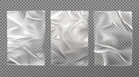 White wet paper, bad glued wheatpaste set. Wrinkled and creased sheets with crumpled texture isolated on transparent background, blank posters mock up for ads design. Realistic 3d vector illustration Illusztráció