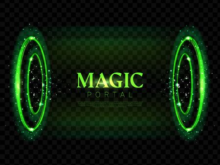 Magic portal, fantasy futuristic teleport with hologram effect. Neon hud toxic green glowing circles, lighting round horizontal funnel for time and space traveling Realistic 3d vector illustration Illusztráció