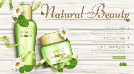 Natural cosmetics bottle and cream jar with chamomile and green leaves top view mock up banner. Eco cosmetic beauty product paraben and cruelty free for all skin types Realistic 3d vector illustration